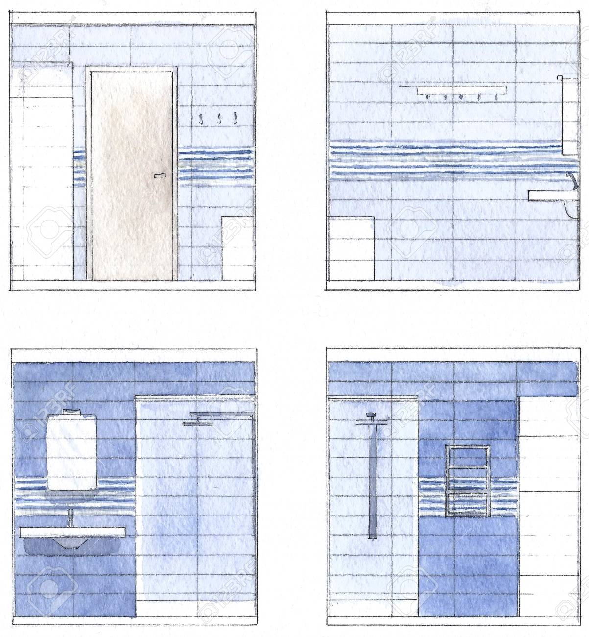Murs de salle de bain à l\'aquarelle, les couleurs bleu clair