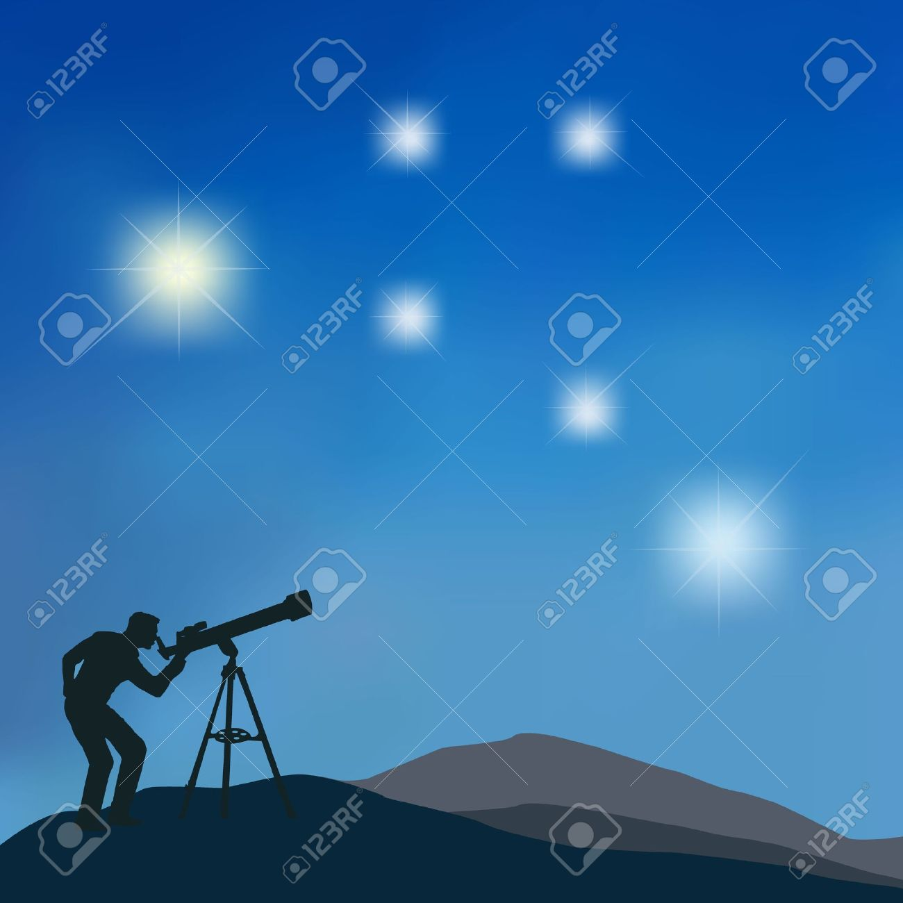The figure shows the silhouette of a man looking at the stars through a telescope - 12232992
