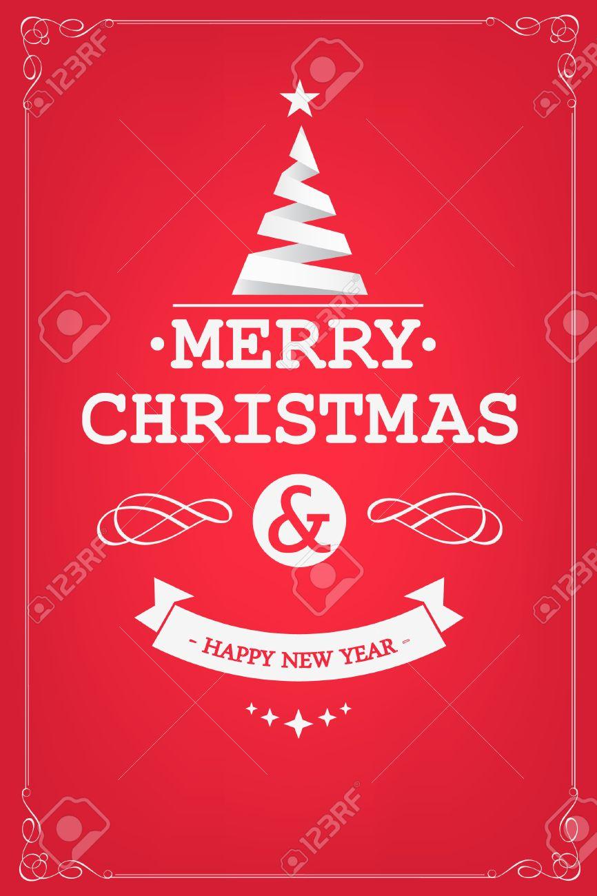 Festa Di Natale.Festa Di Natale Invito Tipografia Retro E Decorazione Natale Vacanze Flyer O Poster Illustrazione Vettoriale