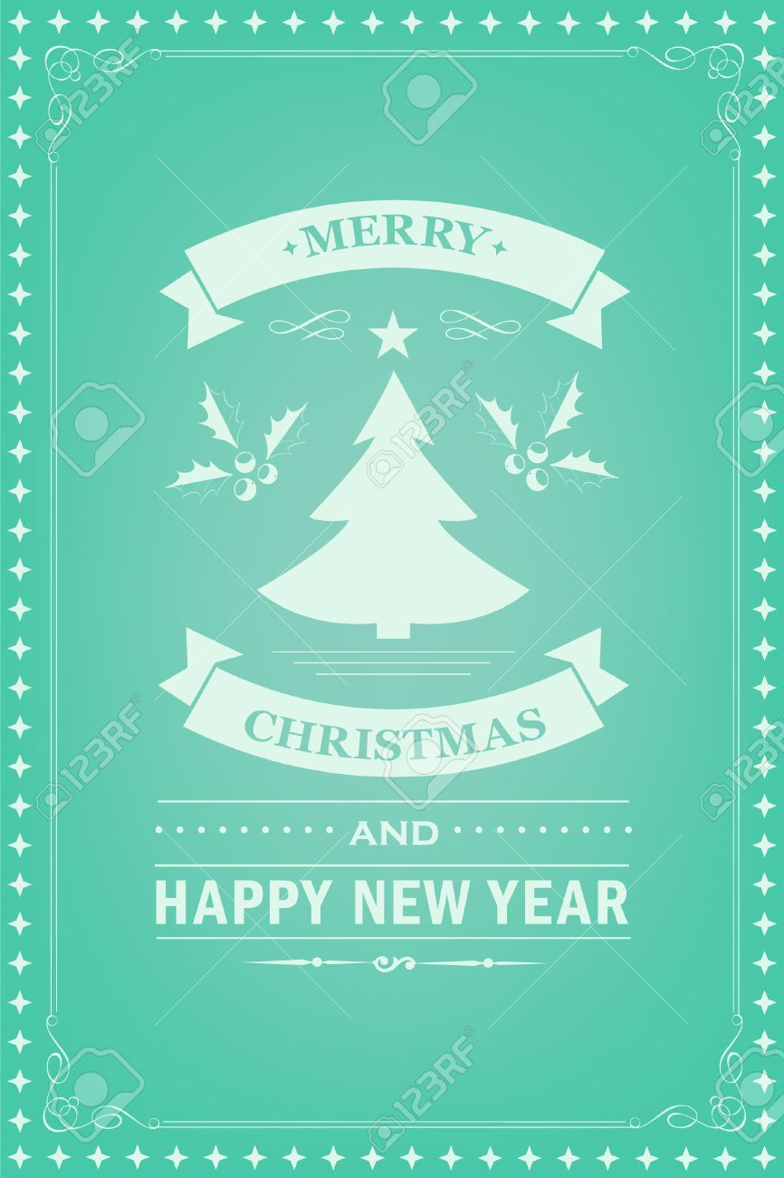 Christmas Party Invitation Retro Typography And Design Decoration ...