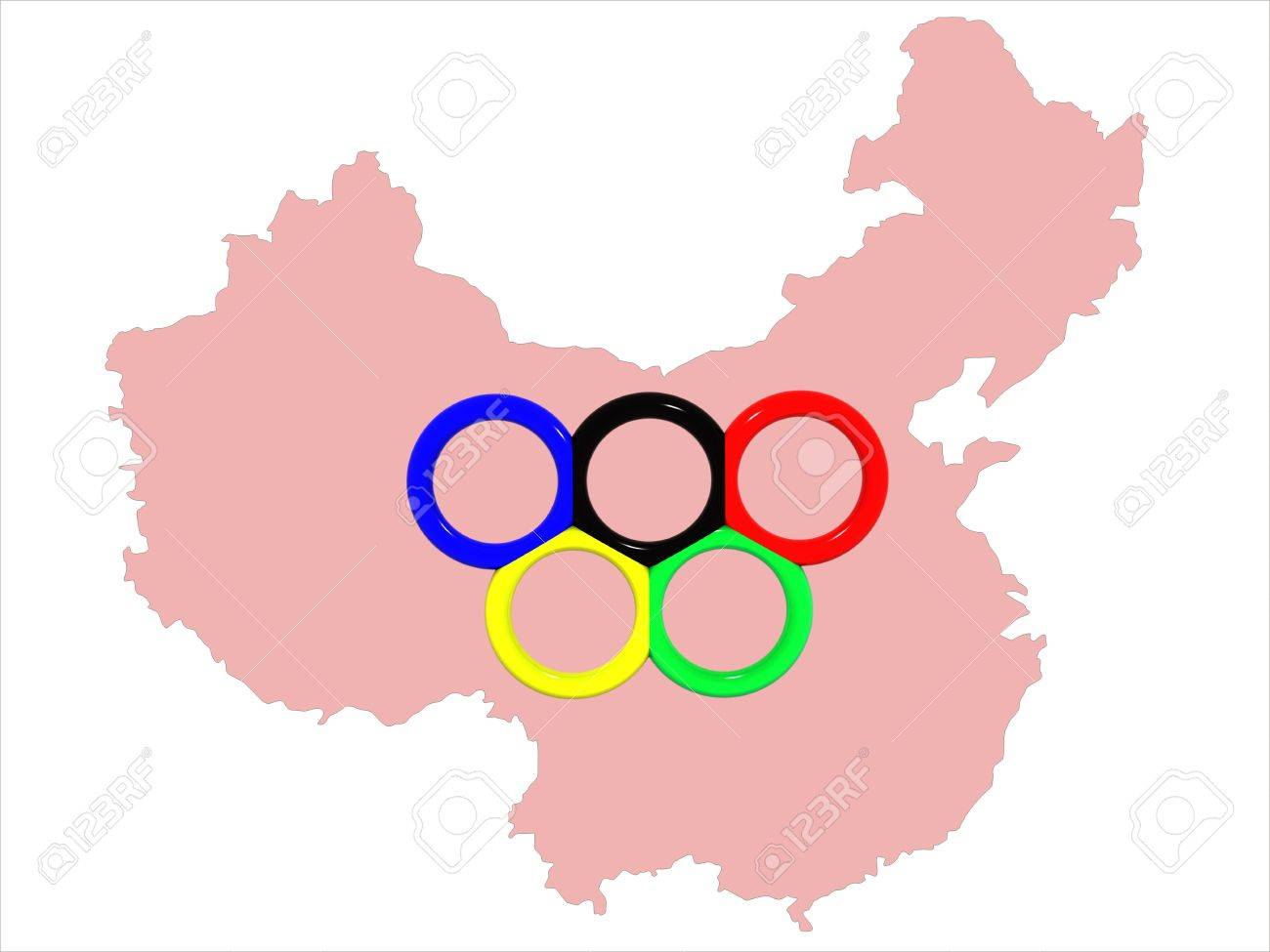 The image of a map of china with a symbol of olympic games the image of a map of china with a symbol of olympic games olympic rings biocorpaavc Images