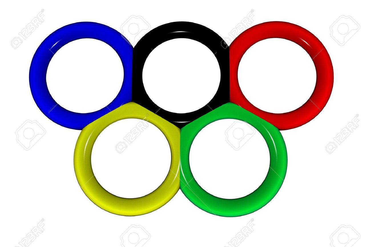 Olympic rings on a white background. Illustration for sports magazines. Stock Photo - 3227806