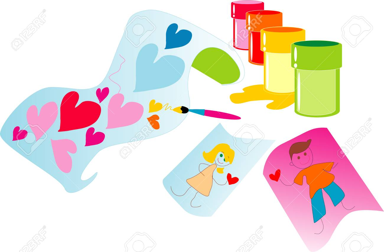 The image of jars with paints and figure of the child about love. Stock Vector - 3572368