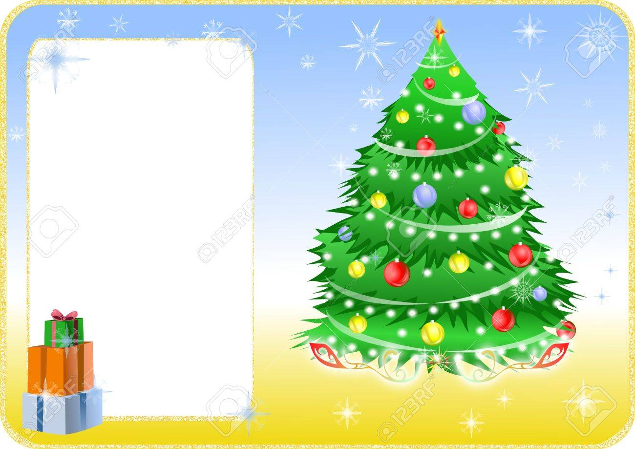 Color christmas card with tree and gifts. Stock Photo - 6256825