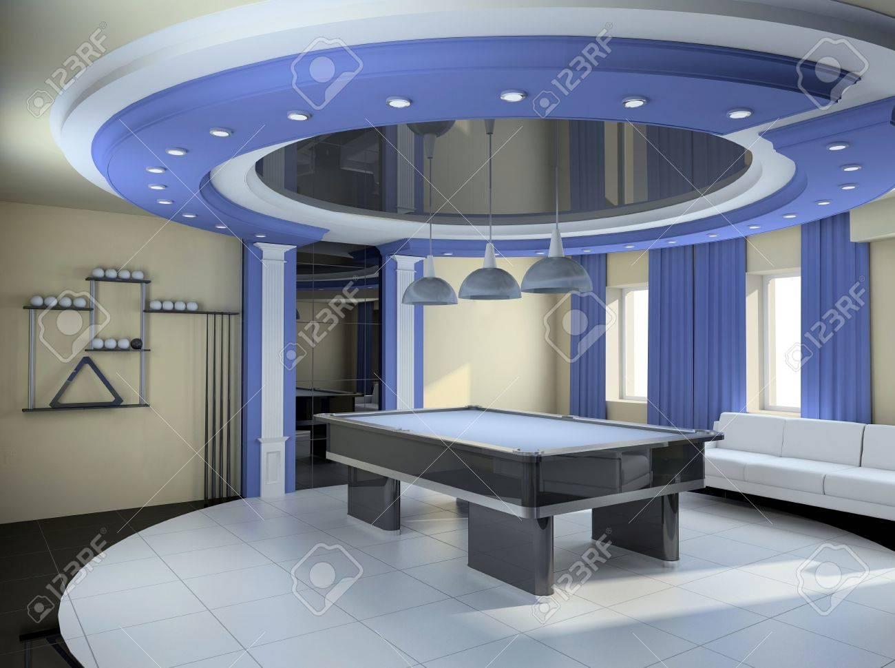 Moderne Innenausstattung. Ein Zimmer Für Billard. 3D-Figur ...