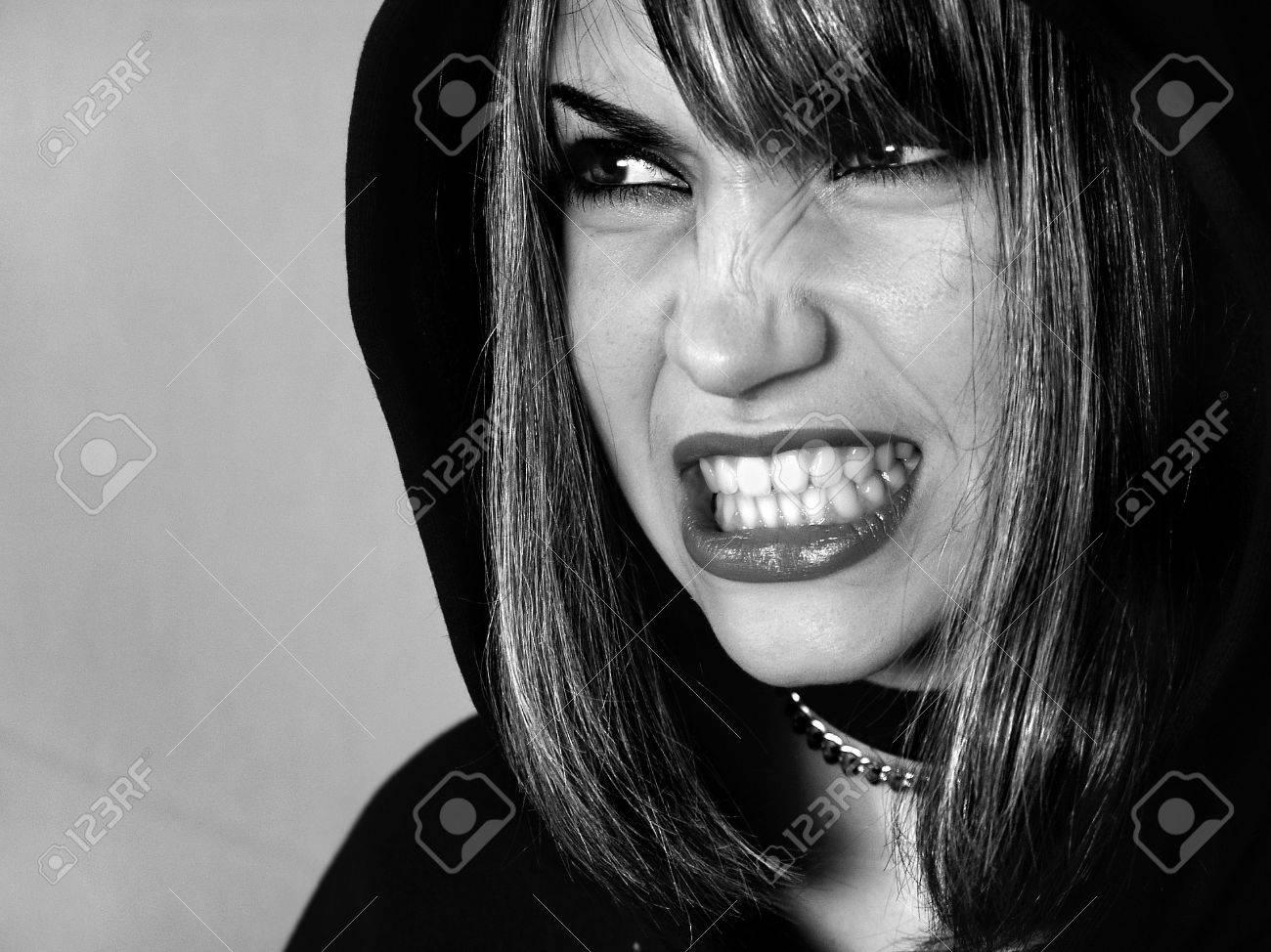 The angry girl. Model. Studio shooting. Stock Photo - 483841