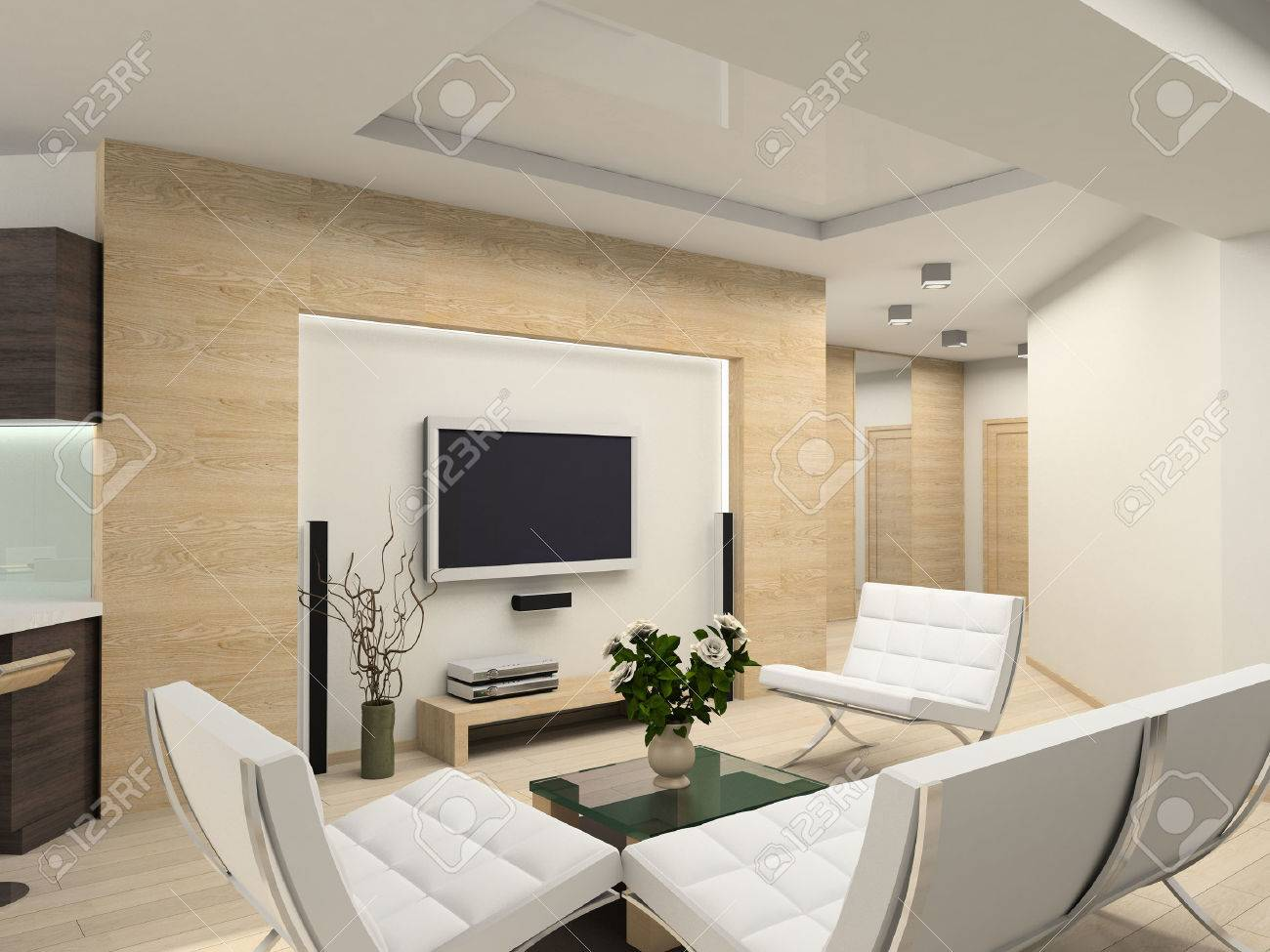 Modern interior.  Living-room. Exclusive design. Stock Photo - 1535958