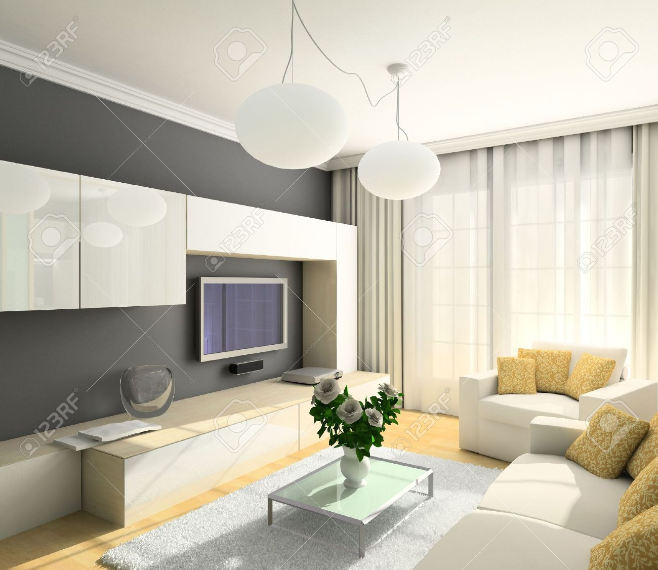 Modern Design Interior Of Living Room. 3D Render Stock Photo   4368083