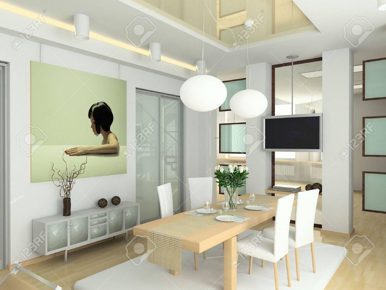 Moderne Interieur Im Großen Haus. Design Der Wohnzimmer. 3D Render ...