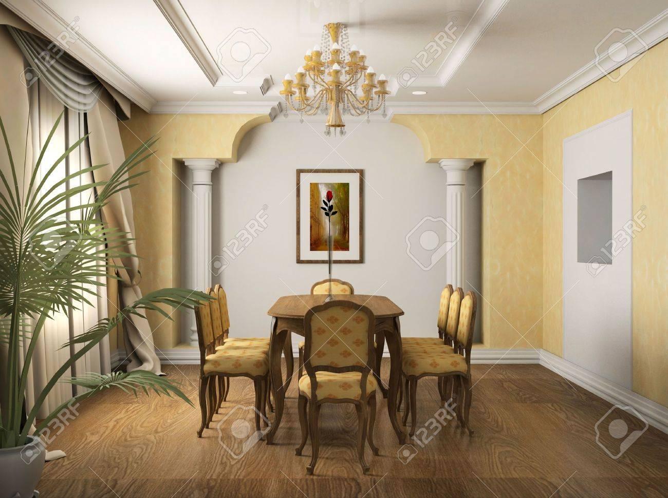 Clásico diseño interior del comedor. 3D render