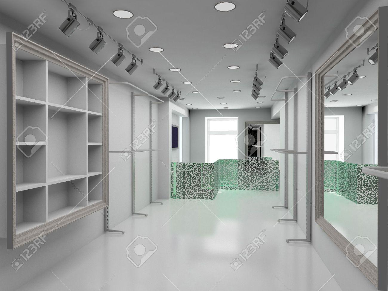 Modern design interior of shop 3d render stock photo 4381759