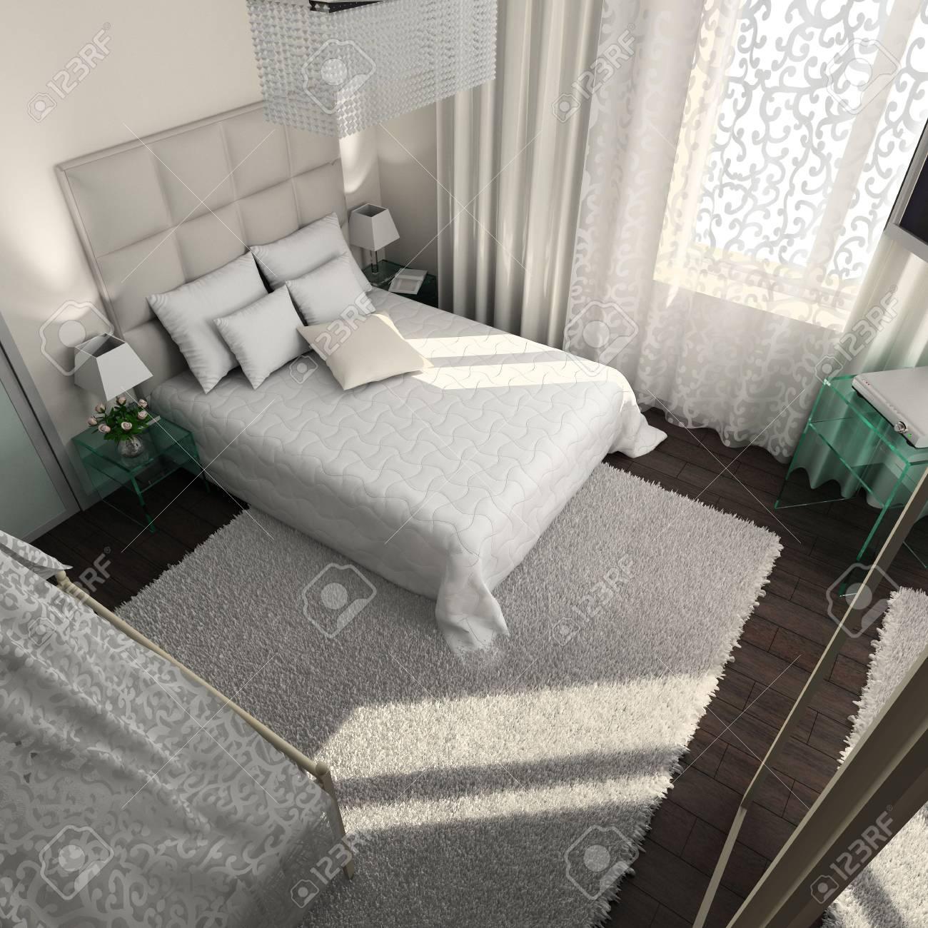 Iinterior of modern bedroom. 3D render Stock Photo - 4381970