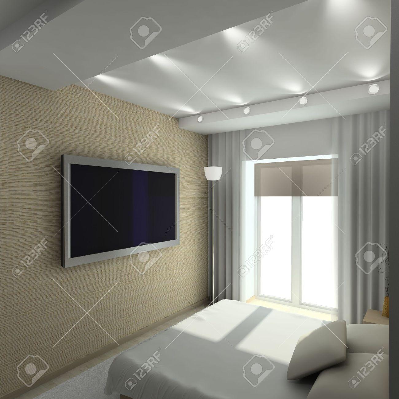 Modern design interior of bedroom. 3D render Stock Photo - 4381851