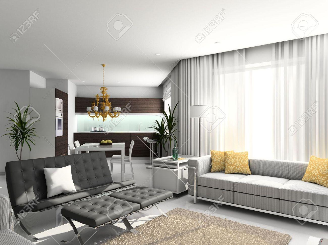 3d Render Wohnzimmer Exklusives Design