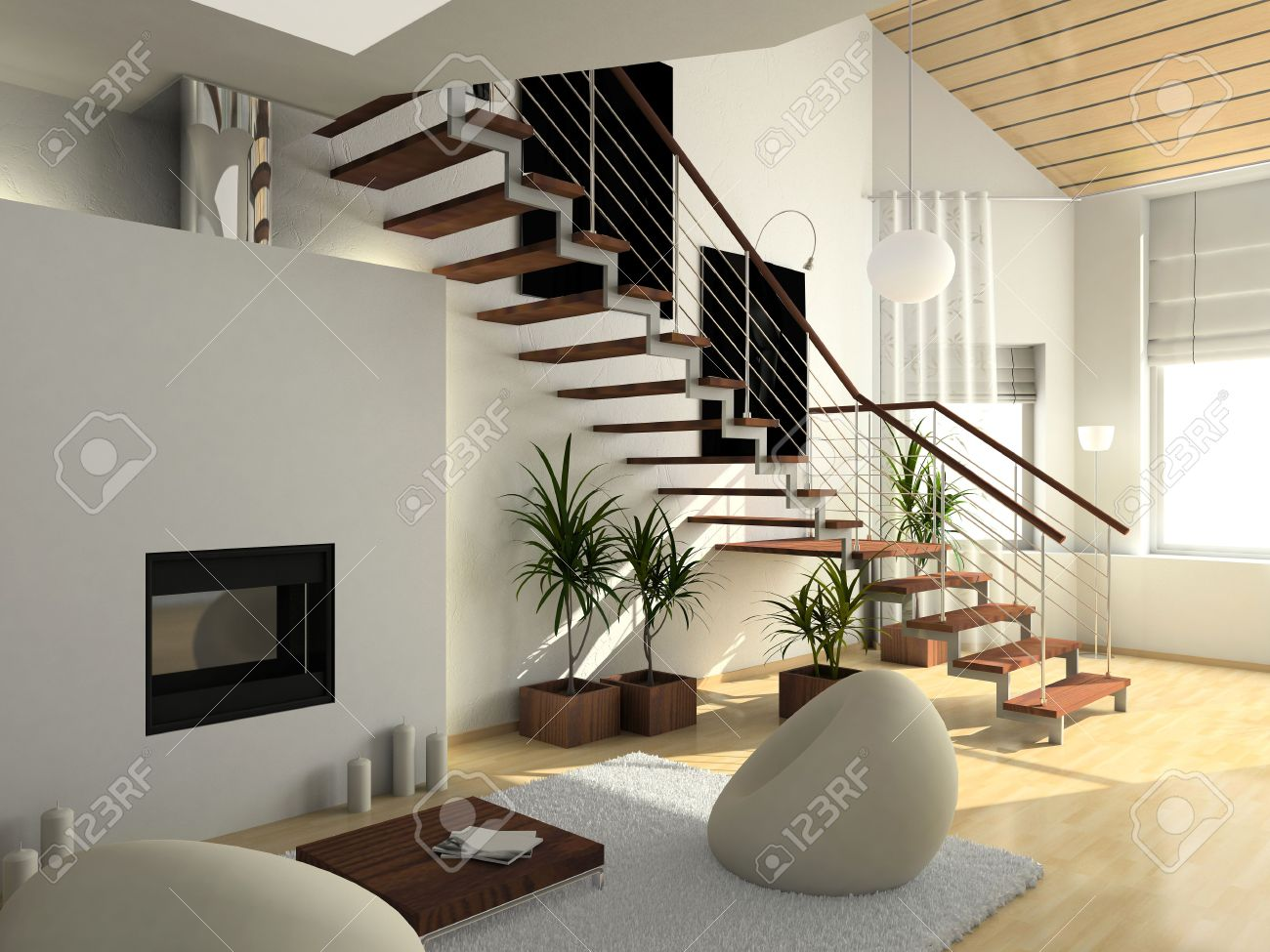 modern comfortable interior with a fire-place. 3D render Stock Photo - 4414591