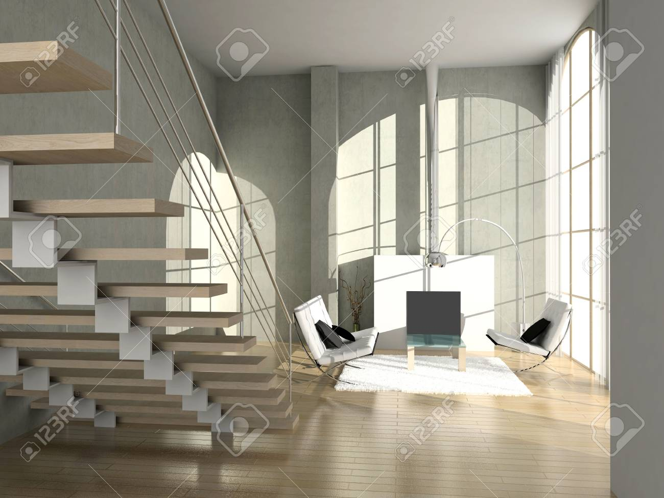 modern comfortable interior with a fire-place. 3D render Stock Photo - 4498717