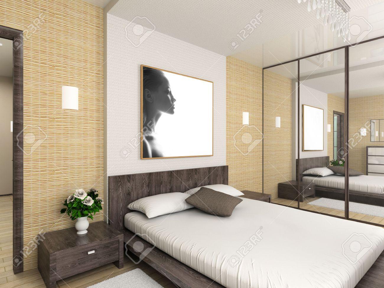 Innenausstattung schlafzimmer  Moderne Innenausstattung. 3D Render. Schlafzimmer. Exklusives ...