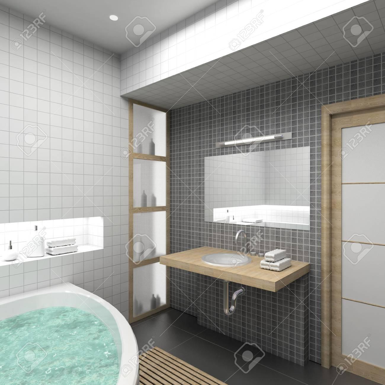 Un interior moderno. 3D render. Cuarto de baño. Diseño exclusivo.