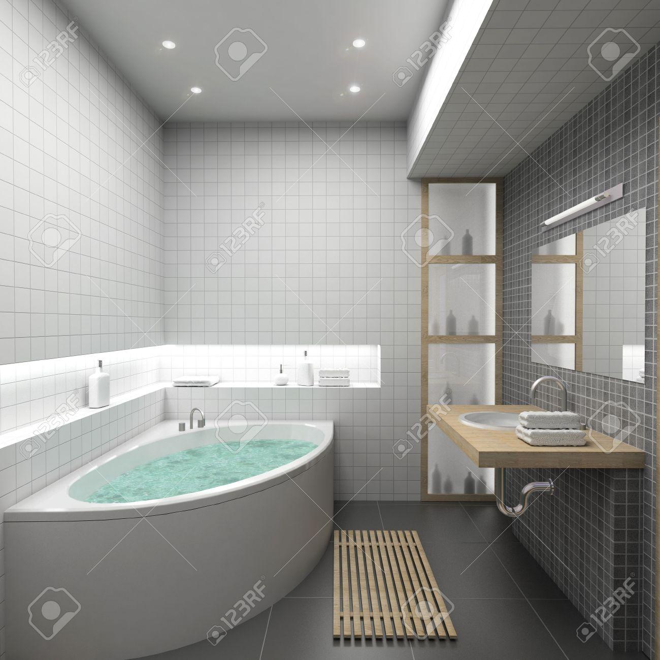Modern Interior. 3D Render. Bathroom. Exclusive Design. Stock Photo ...