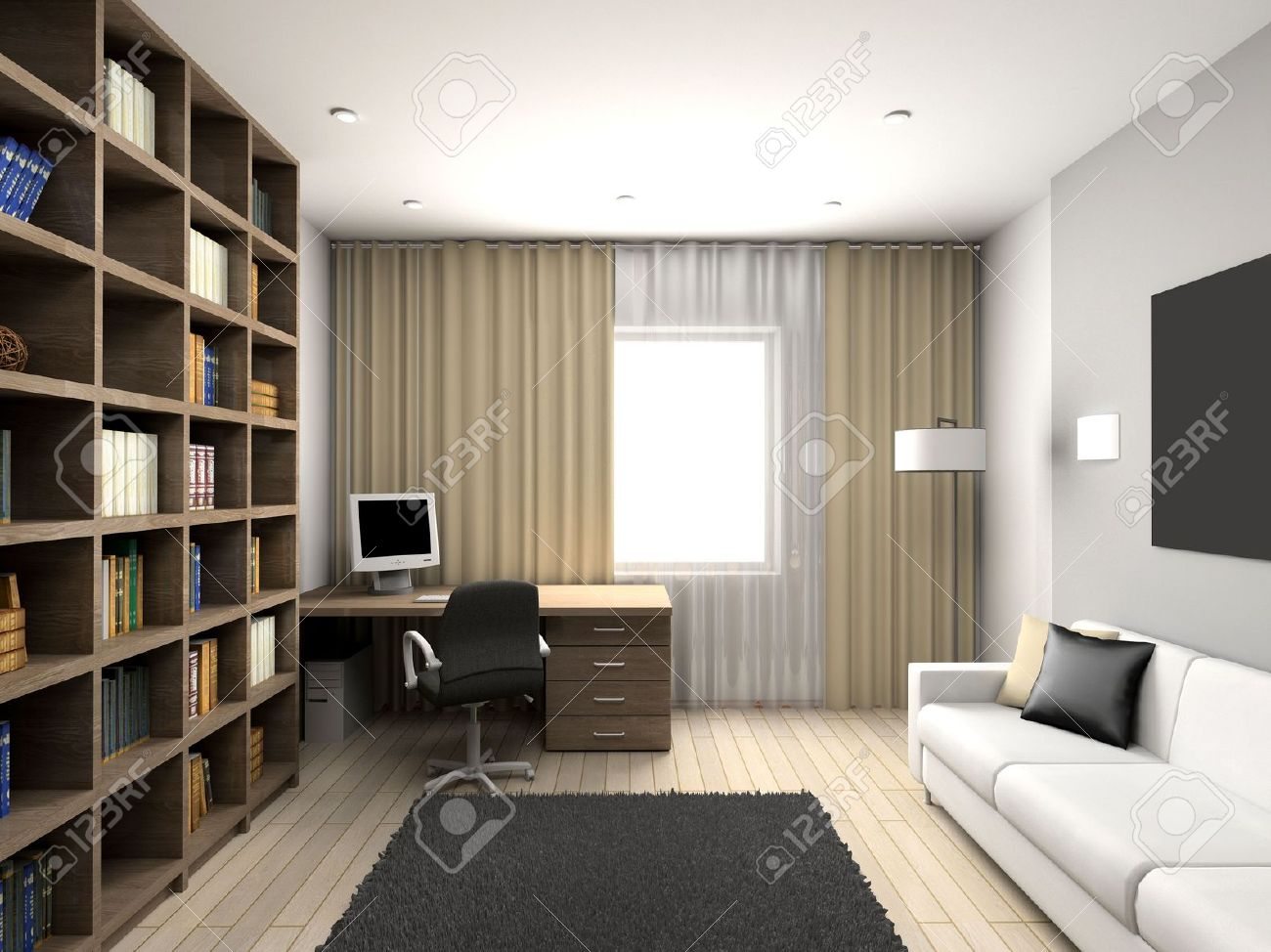 cabinet with the modern furniture 3d render stock photo 4513691