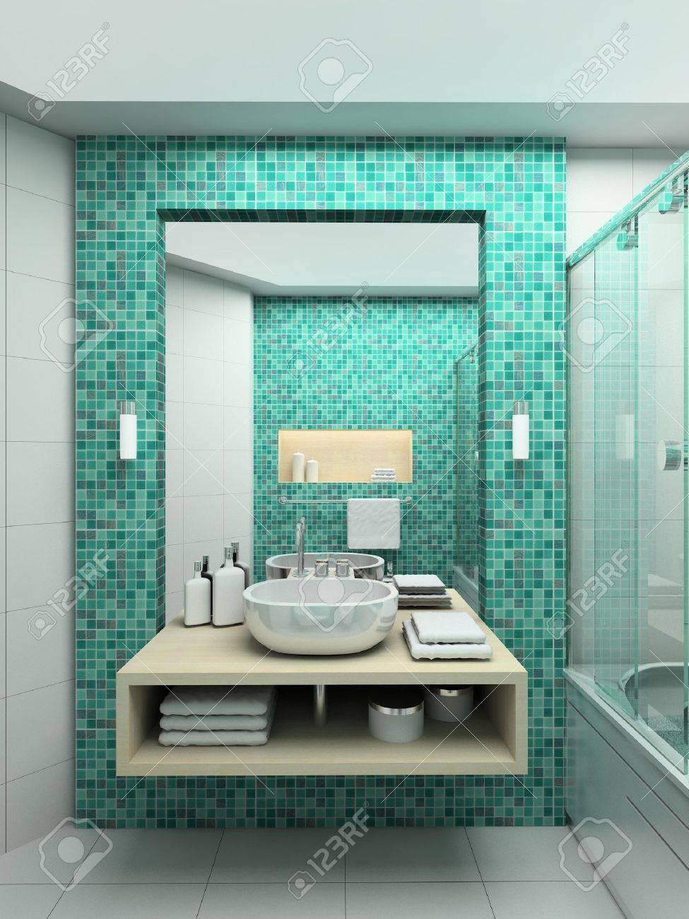 Diseño Baños 3D | Diseno Moderno Interior Del Cuarto De Bano 3d Render Fotos