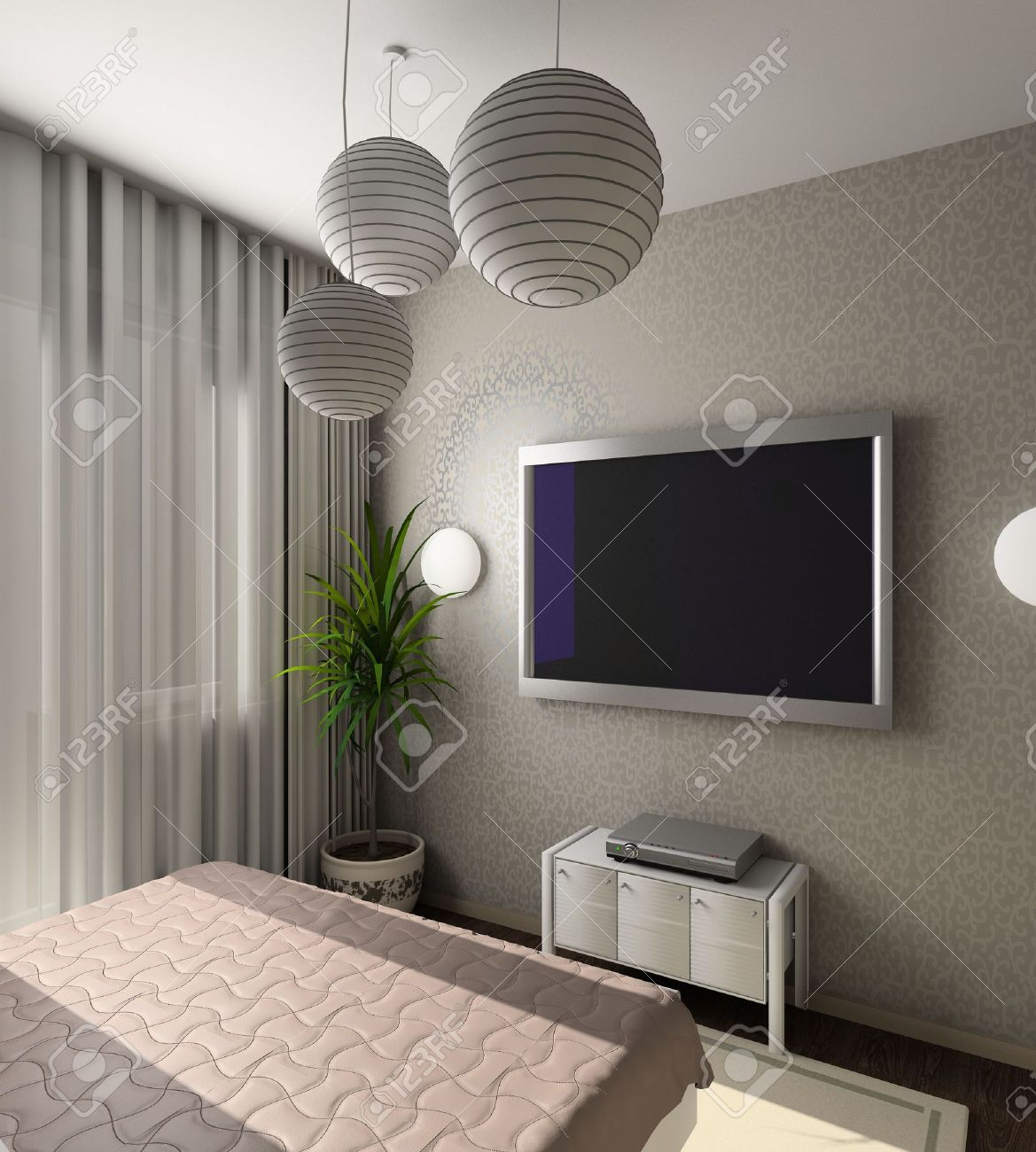 moderna camera da letto con tv ? foto stock © felixtm #3163127 ...