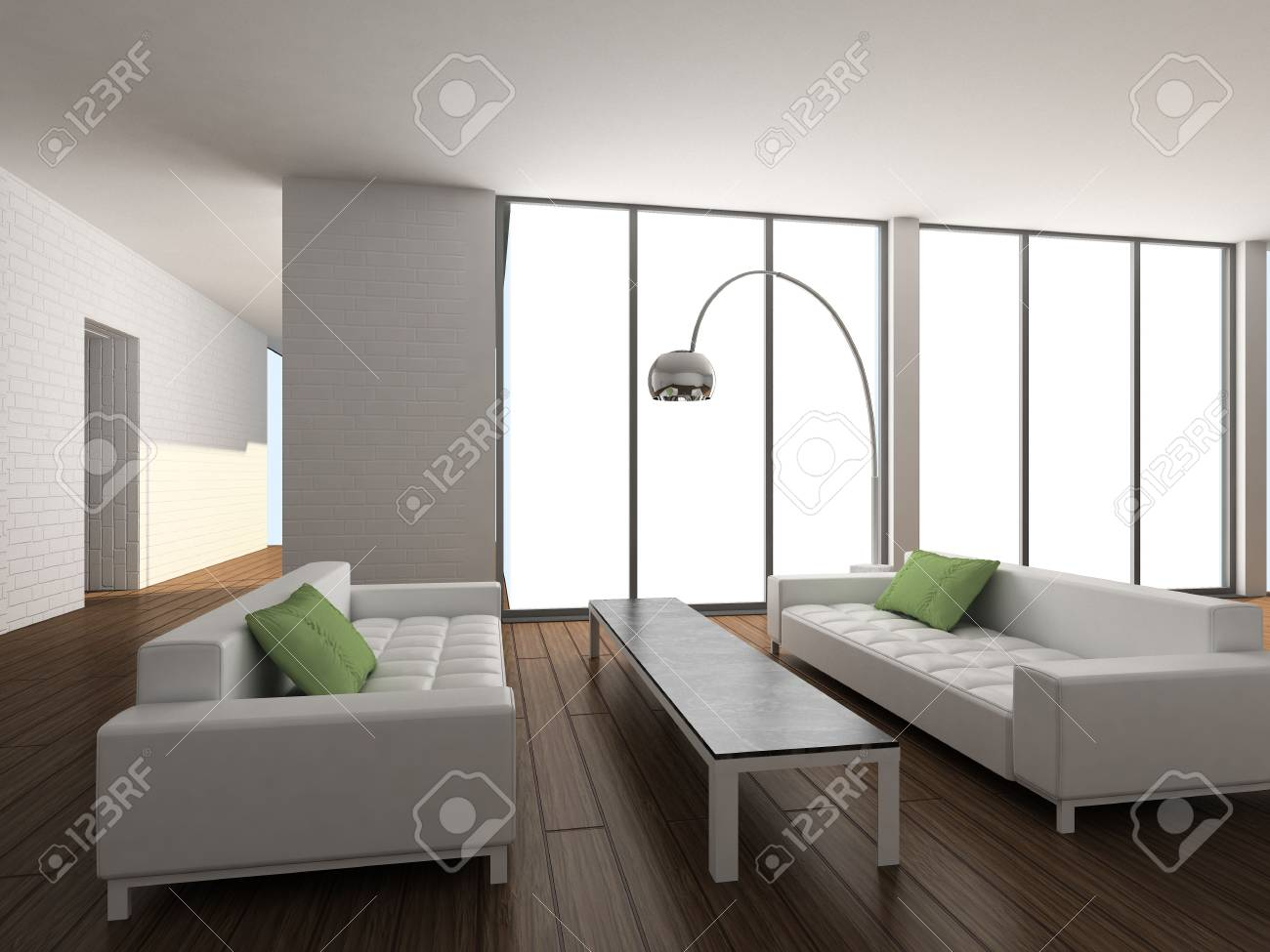 Modern design interior of living-room. 3D render Stock Photo - 5267647