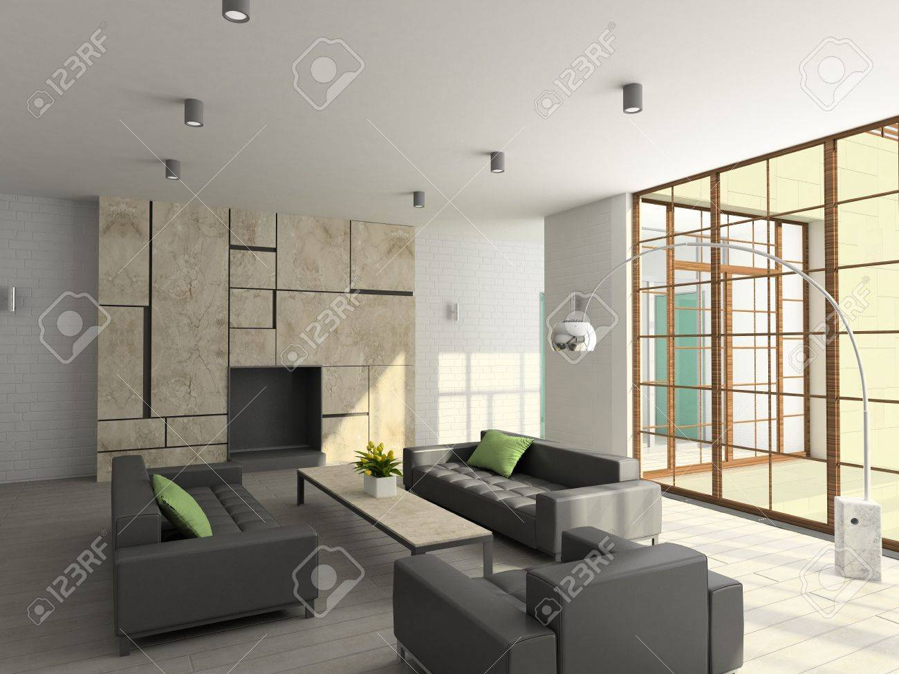 Interior De Diseño Moderno De Salón-comedor. 3D Render Fotos ...