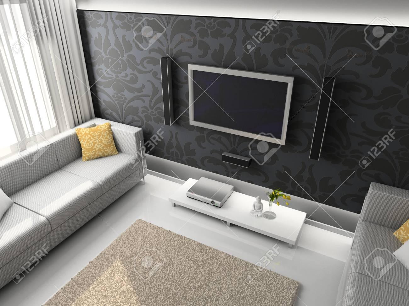 Interioir of modern living-room. 3d render Stock Photo - 5450488