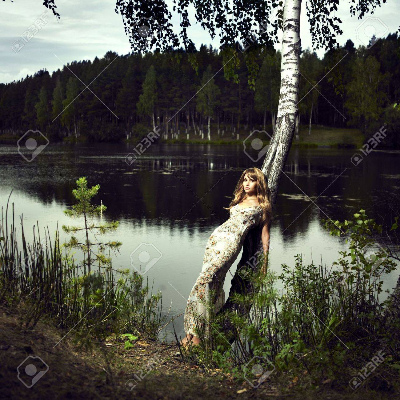 Portrait of romantic girl at Forest River Stock Photo - 7705991