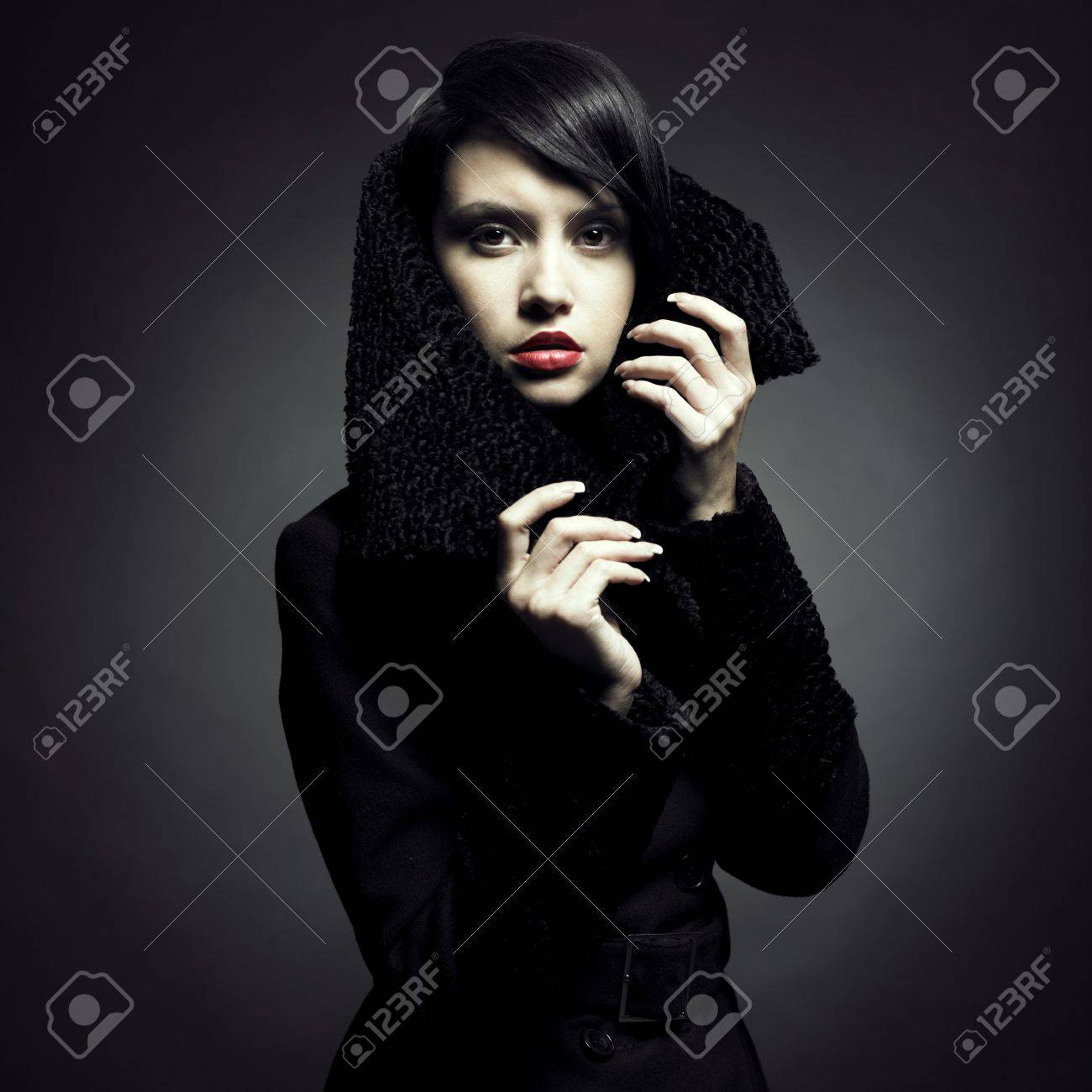 Portrait of a beautiful lady in an elegant coat Stock Photo - 8250026