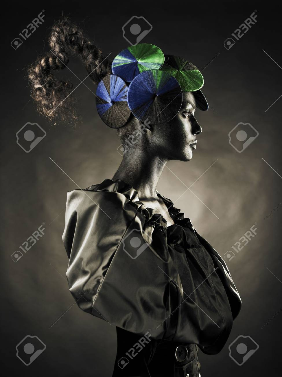 Portrait of a beautiful alien lady with an unusual hairstyle Stock Photo - 8479002