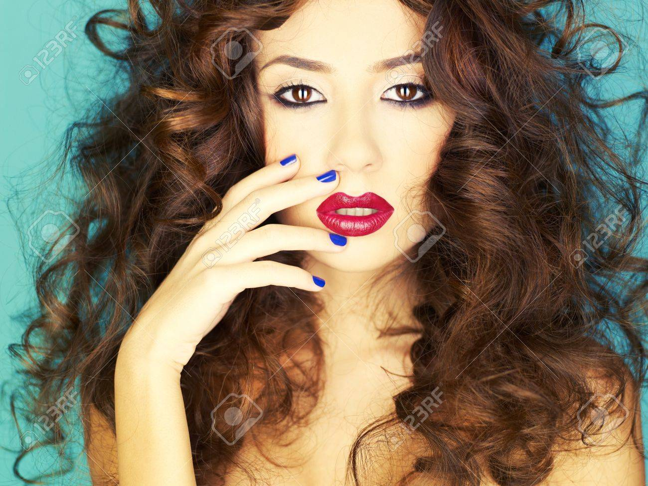 Photo of young beautiful woman with red lipstick Stock Photo - 12406579