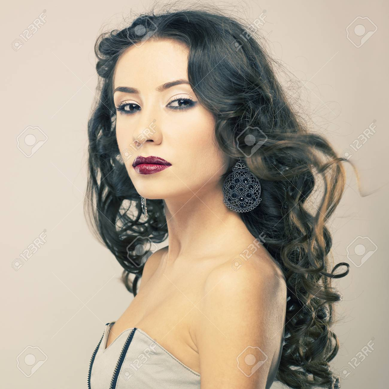 Photo of young beautiful woman with red lipstick Stock Photo - 13563934
