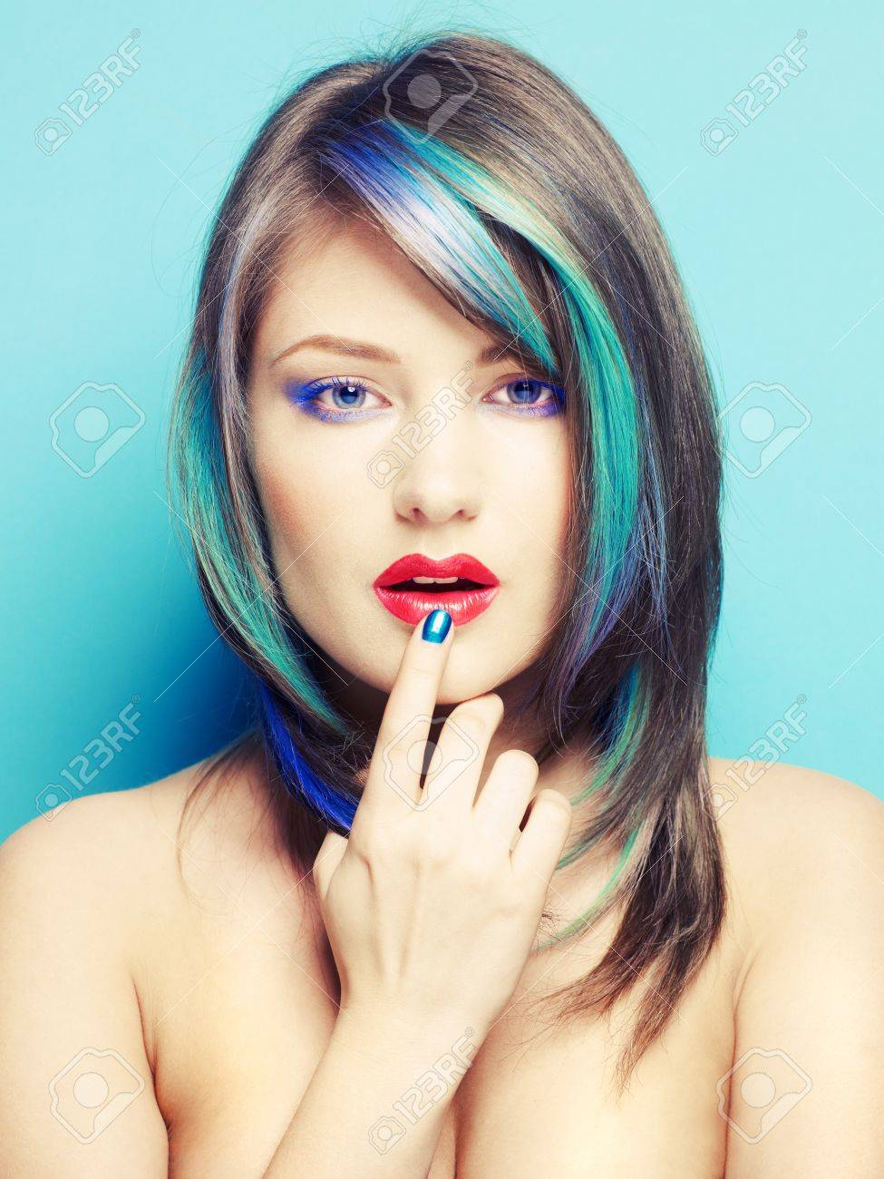 Photo of young lady with bright makeup on bright background Stock Photo - 13563945