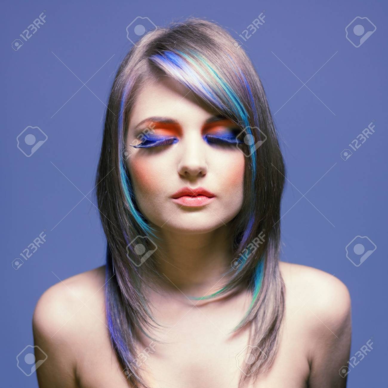 Photo of young lady with bright makeup on bright background Stock Photo - 13563939
