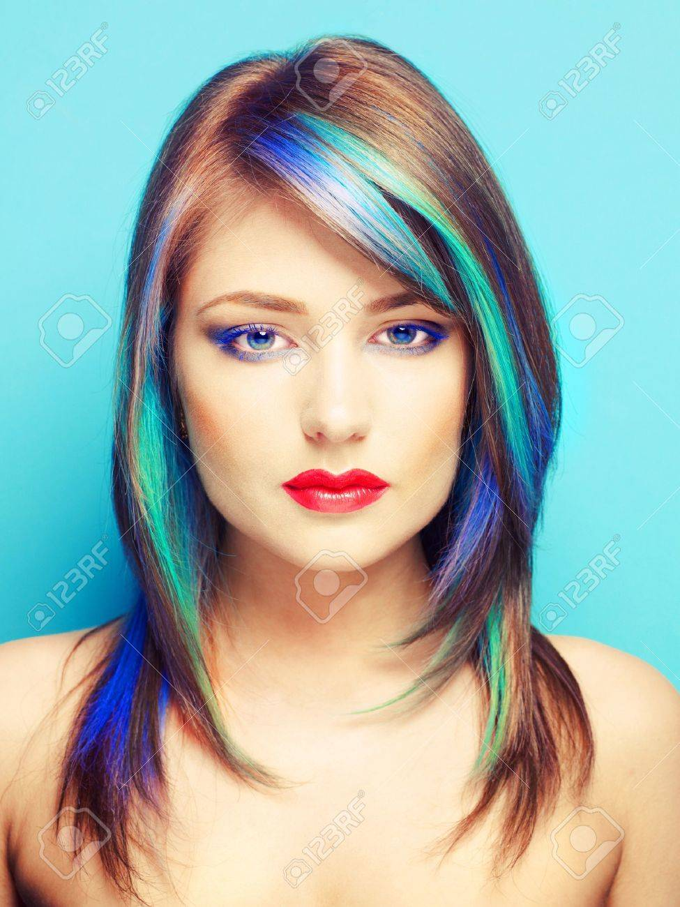 Photo of young lady with bright makeup on bright background Stock Photo - 14707340