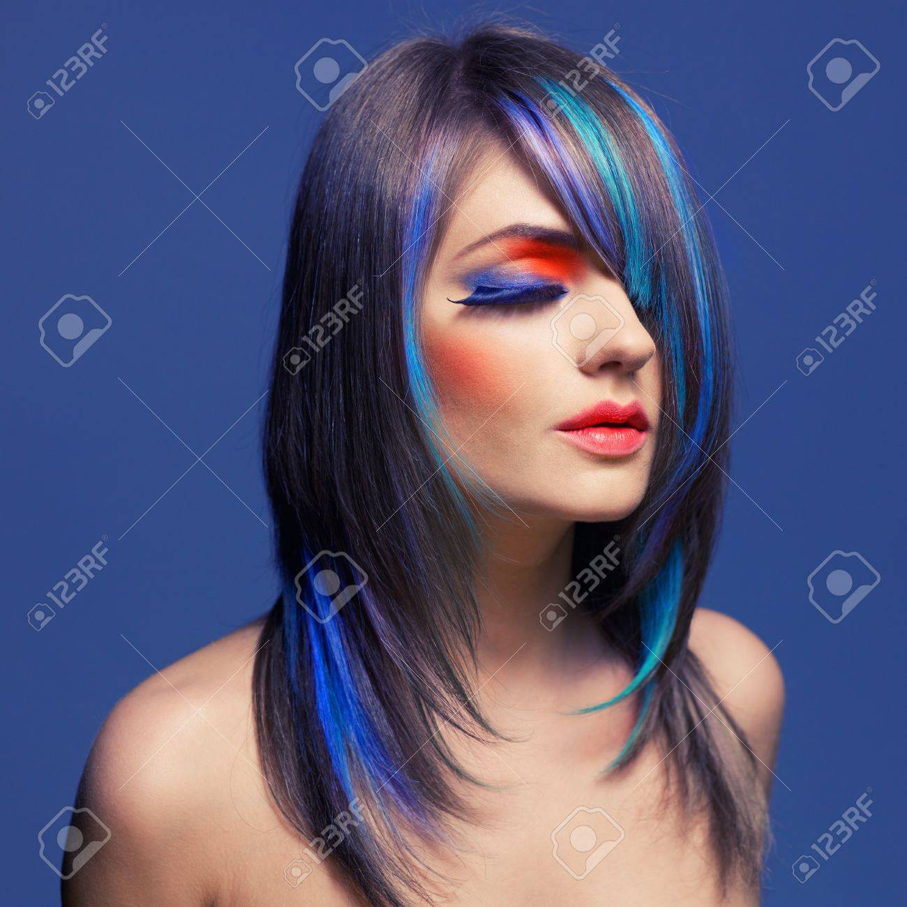 Photo of young lady with bright makeup on bright background Stock Photo - 14707102