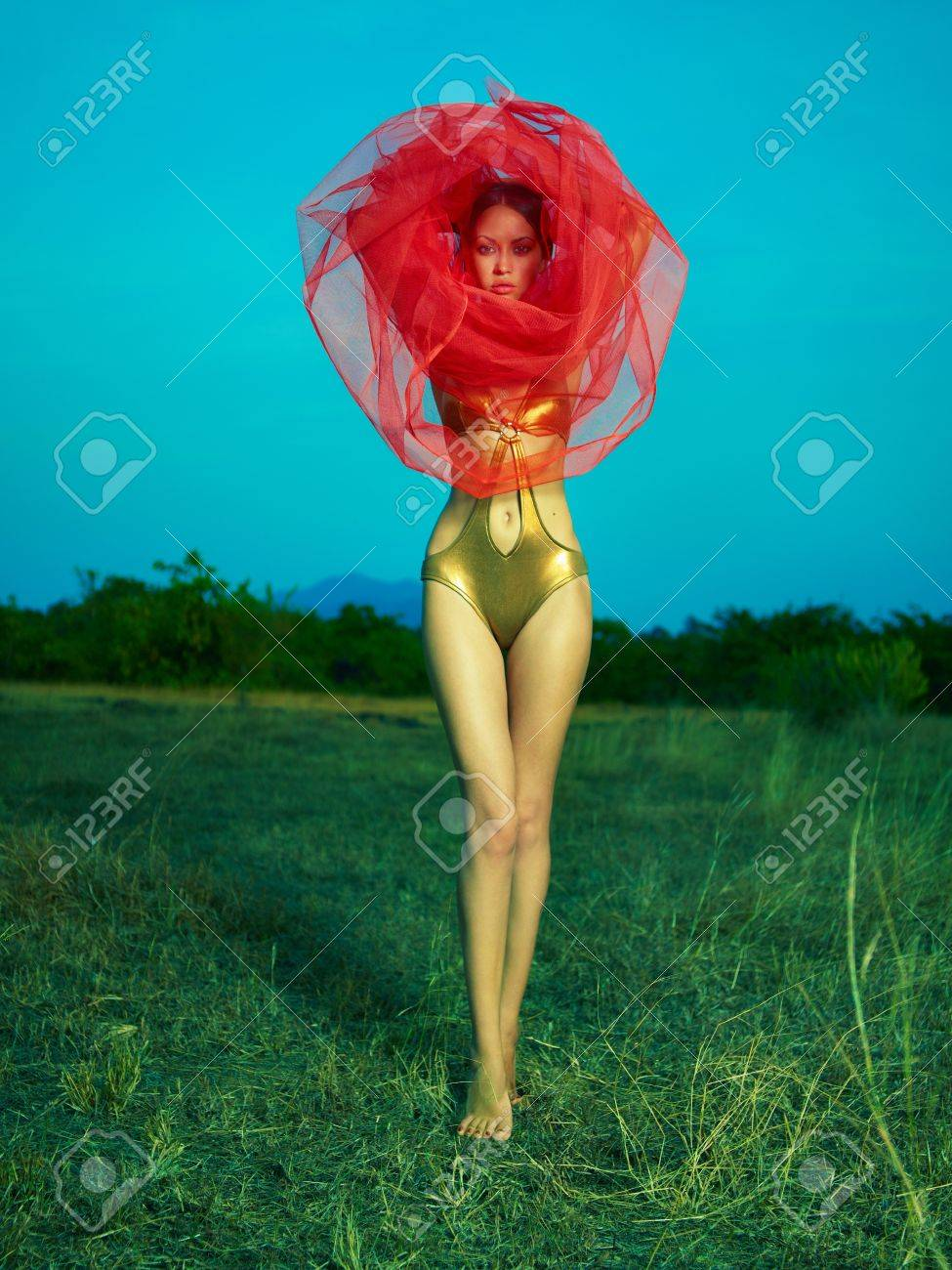 Sensual beautiful woman under the red veil on nature Stock Photo - 17625954