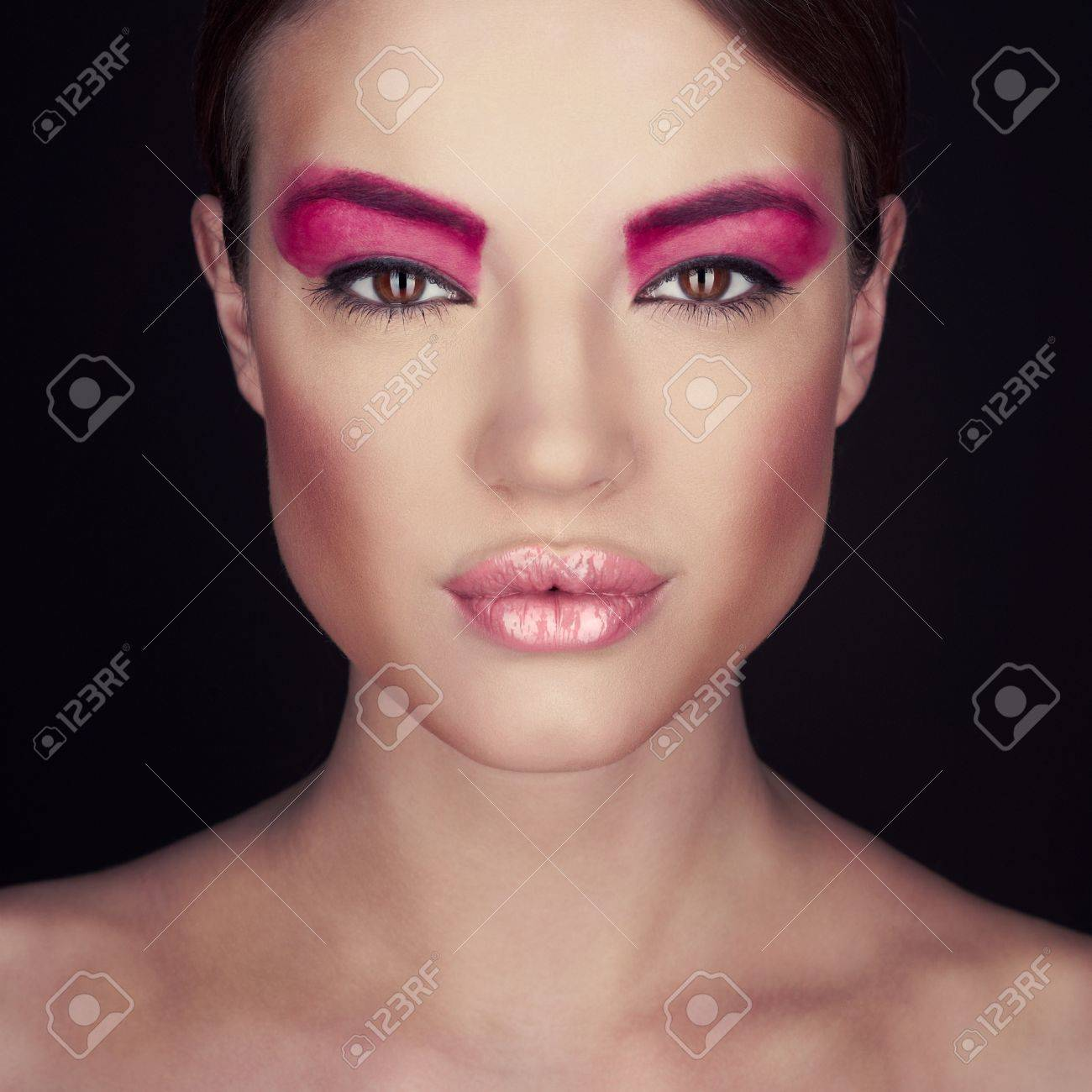 Fashion photo of beautiful lady with bright make-up Stock Photo - 17852154