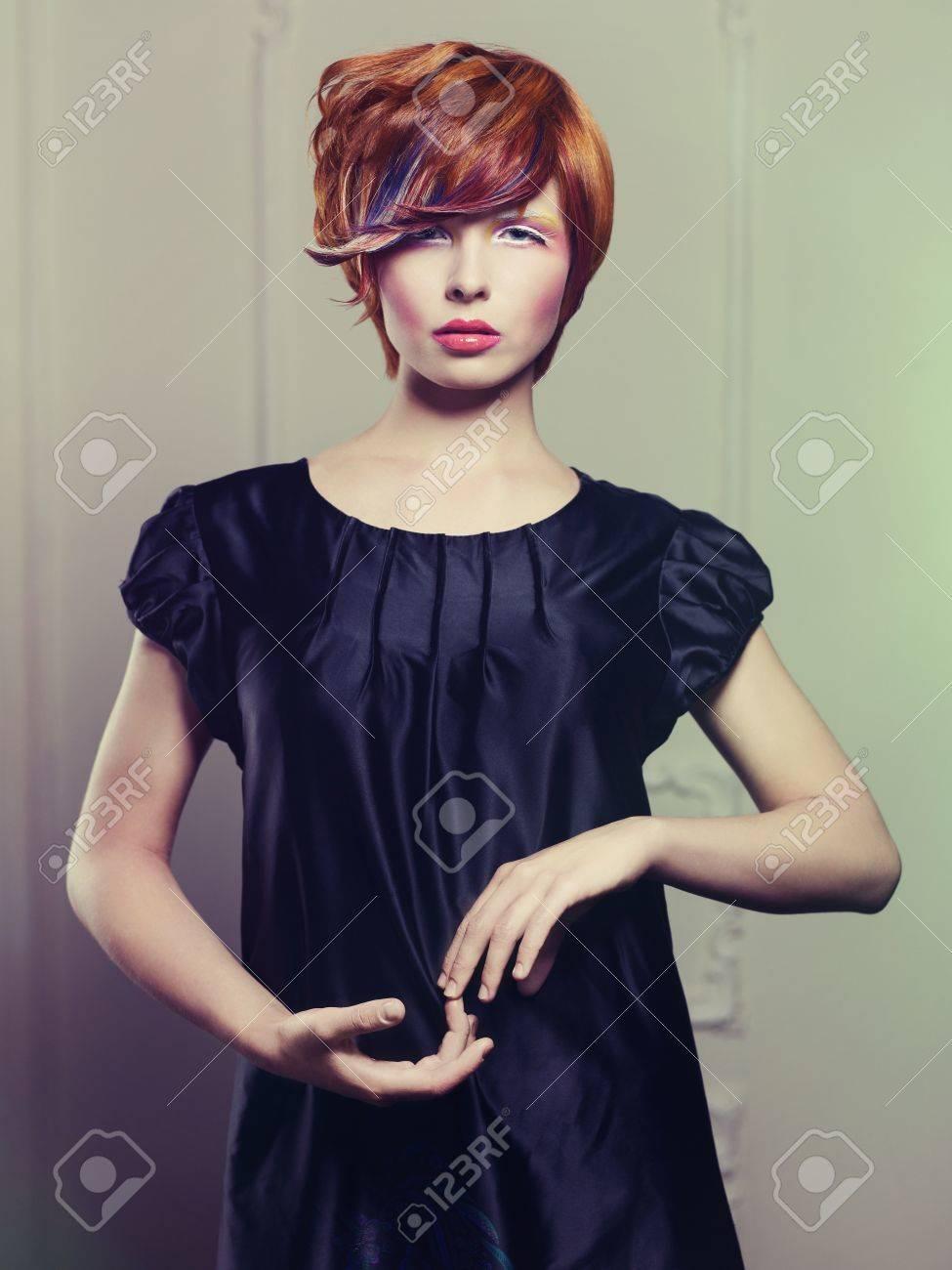 Fashion photo of beautiful lady in black dress Stock Photo - 18733789