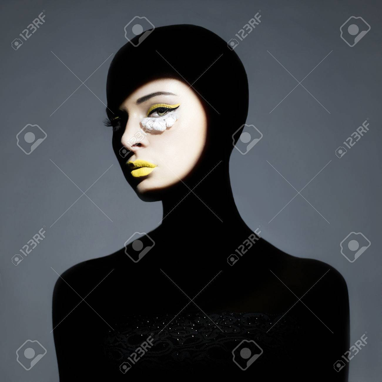 Surrealist portrait of young lady with art makeup Stock Photo - 28081545
