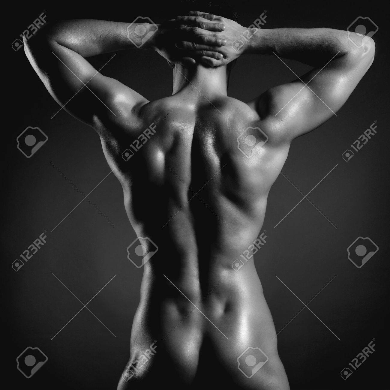 Poto of naked athlete with strong body Standard-Bild - 33628140