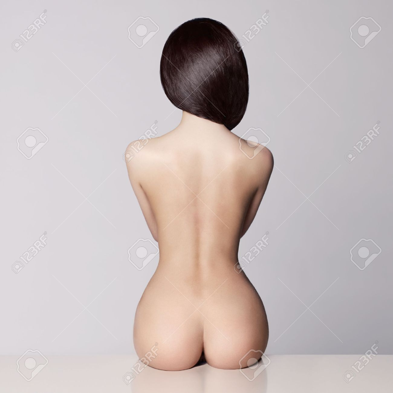 perfect female body with beautiful nude booty Standard-Bild - 37788607
