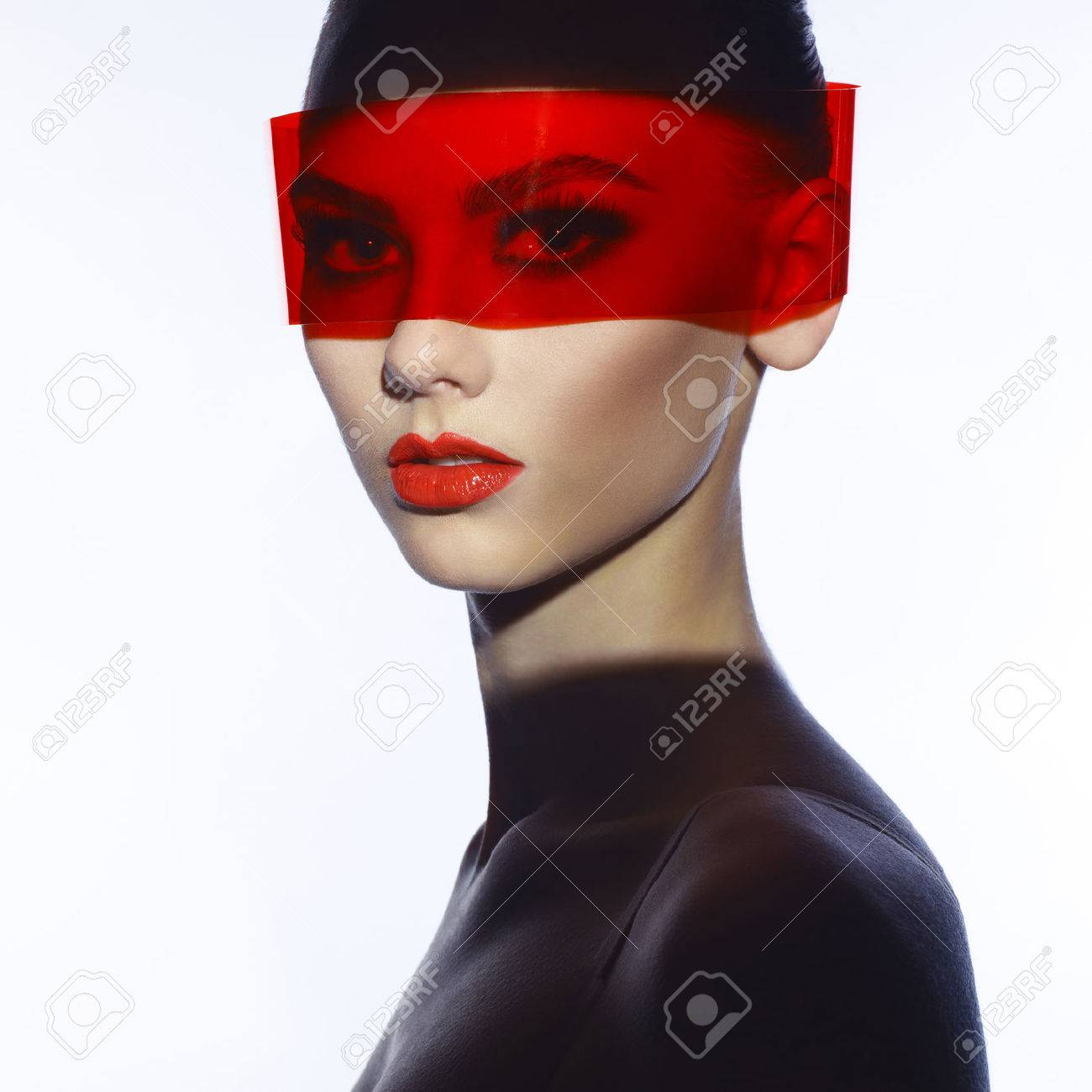 Fashion art studio photo of beautiful elegant futuristic lady Standard-Bild - 40572217