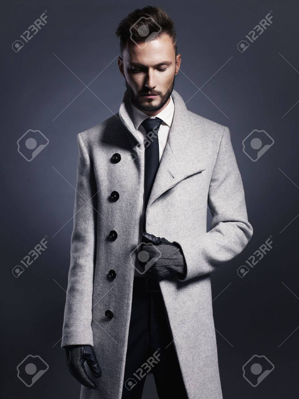 Portrait of handsome stylish man in elegant autumn coat Standard-Bild - 46450153