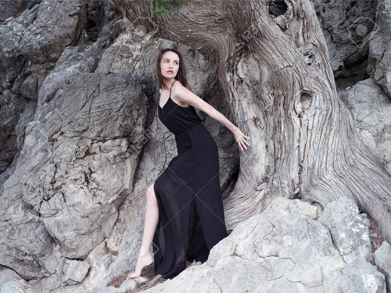 Outdoors fashion photo of beautiful young woman at the mighty ancient tree - 59852666