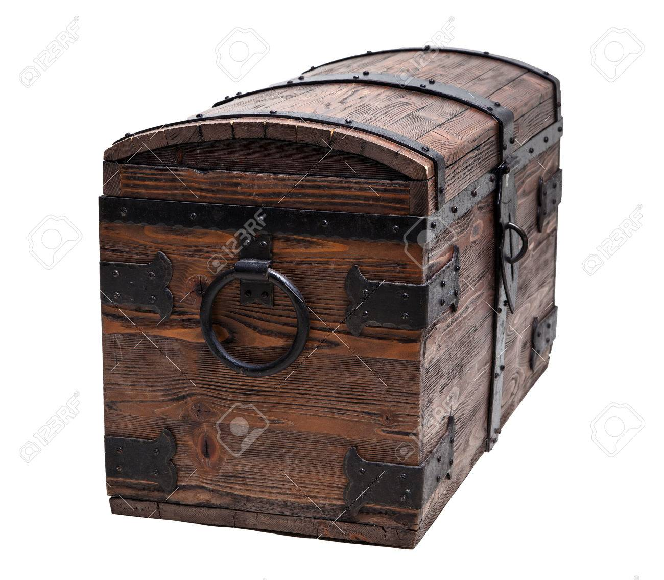 Closed Wooden Chest With Iron Fittings Stock Photo Picture And