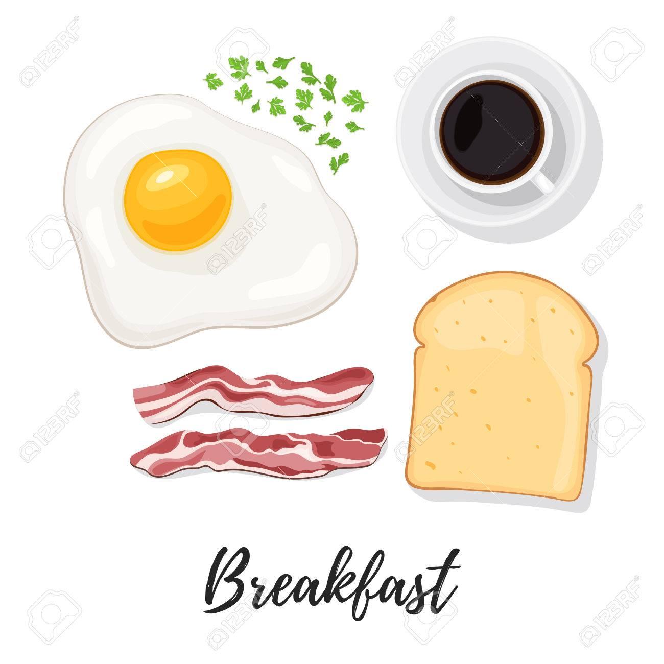 Breakfast Food Egg Scrambled Eggs Bacon Bread Toast Herbs