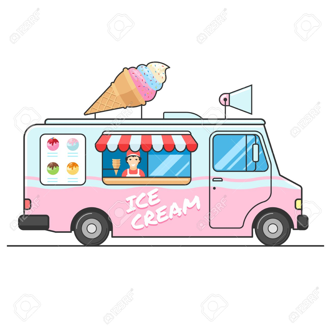 ice cream truck side view seller of ice cream in the van ice rh 123rf com  clipart ice cream truck images